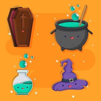 Coleção plana de elementos do dia das bruxas