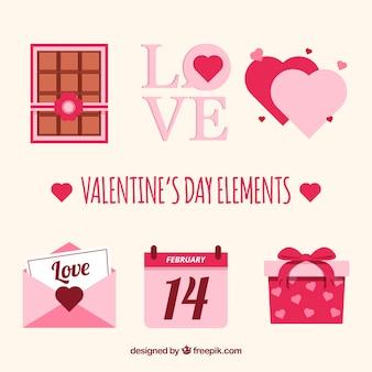 Coleção plana de elementos do dia dos namorados com ilustração fofa
