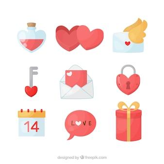 Coleção plana de elementos do dia dos namorados