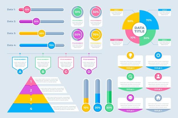 Coleção plana de elementos infográficos