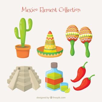 Coleção plana de elementos mexicanos