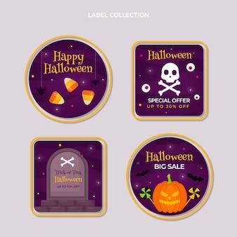 Coleção plana de emblemas do dia das bruxas