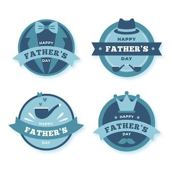 Coleção plana de emblemas do dia dos pais