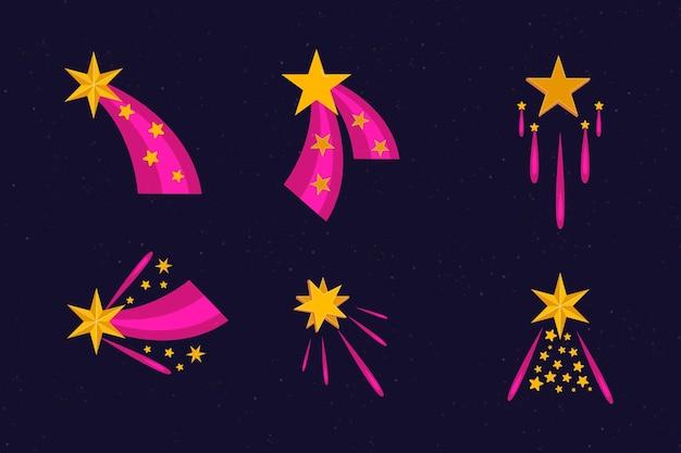 Coleção plana de estrelas cintilantes