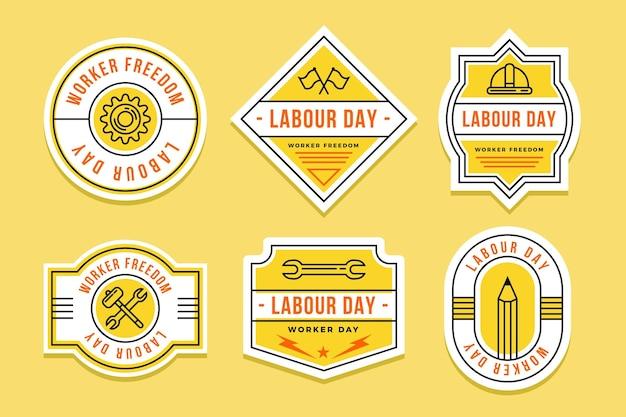 Coleção plana de etiqueta do dia do trabalho