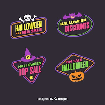 Coleção plana de etiquetas de venda do dia das bruxas
