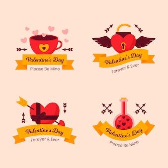 Coleção plana de etiquetas do dia dos namorados