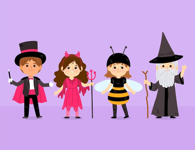 Coleção plana de fantasias de halloween desenhada à mão