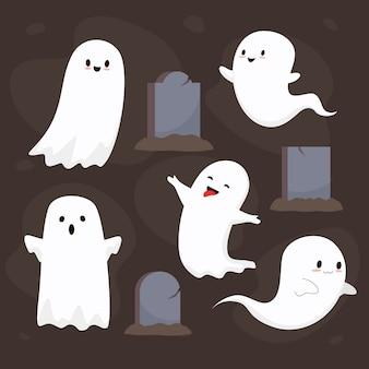 Coleção plana de fantasmas de halloween