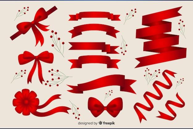 Coleção plana de fita vermelha de natal