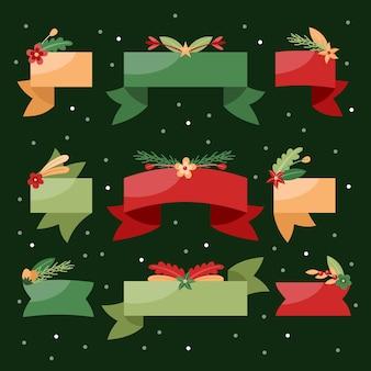 Coleção plana de fitas de natal