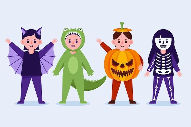 Coleção plana de halloween para crianças