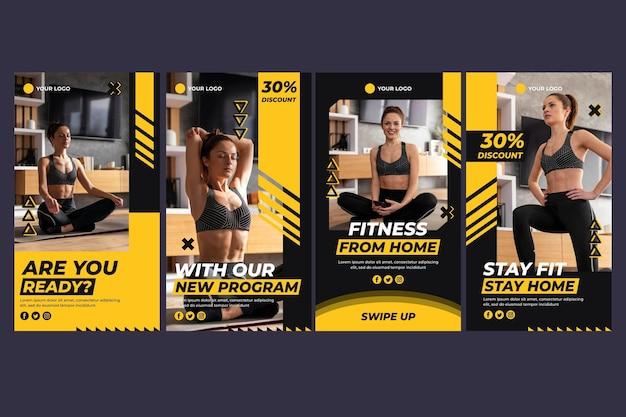 Coleção plana de história de fitness