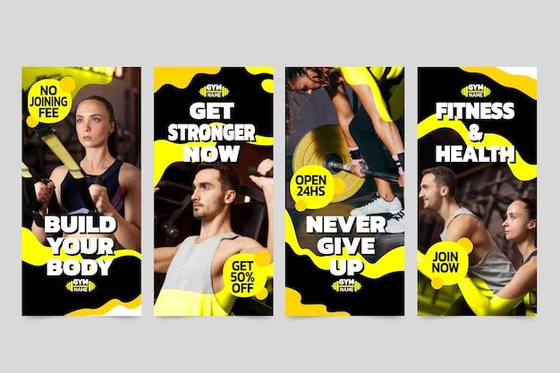Coleção plana de histórias de saúde e fitness