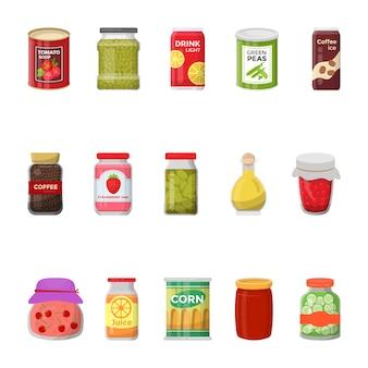 Coleção plana de ícones de comida de latas