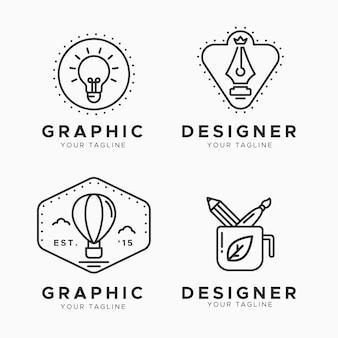 Coleção plana de logotipo de designer gráfico