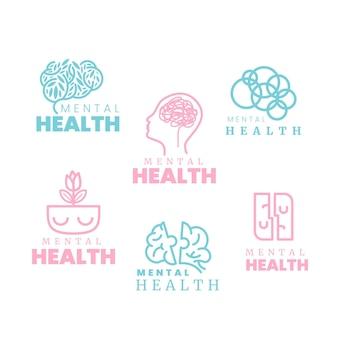Coleção plana de logotipo de saúde mental
