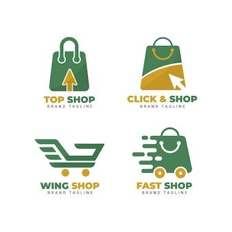 Coleção plana de logotipos de e-commerce