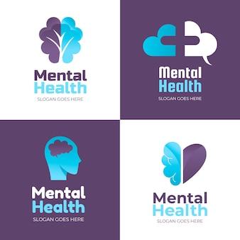 Coleção plana de logotipos de saúde mental