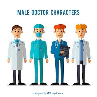 Coleção plana de médicos especializados