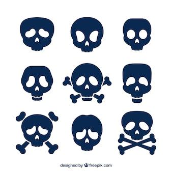 Coleção plana de nove crânios azuis