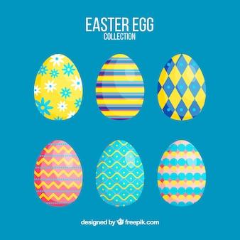Coleção plana de ovos de páscoa