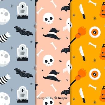 Coleção plana de padrão de halloween