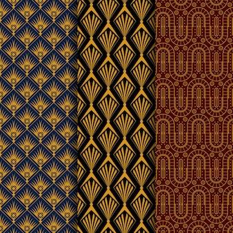 Coleção plana de padrões art déco