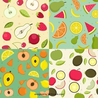 Coleção plana de padrões de frutas coloridas