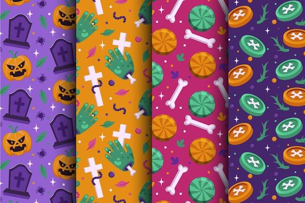 Coleção plana de padrões de halloween
