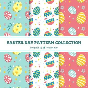 Coleção plana de padrões do dia de páscoa
