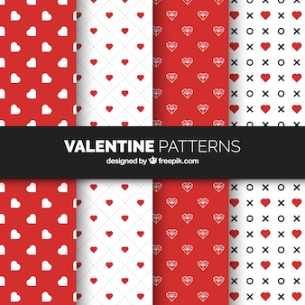Coleção plana de padrões do dia dos namorados com corações