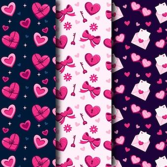 Coleção plana de padrões do dia dos namorados