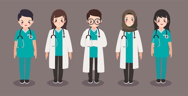 Coleção plana de personagem fofa médico e enfermeira