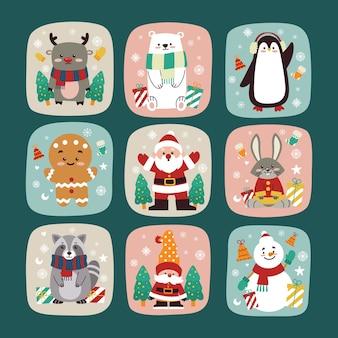 Coleção plana de personagens de natal para cartão comemorativo