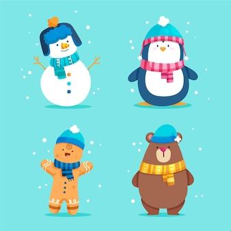 Coleção plana de personagens de natal