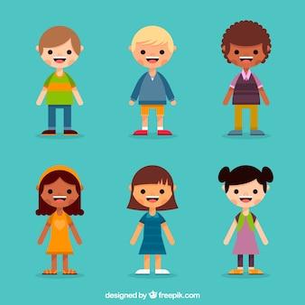 Coleção plana de personagens infantis