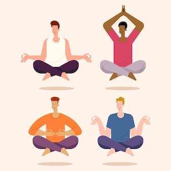 Coleção plana de pessoas meditando