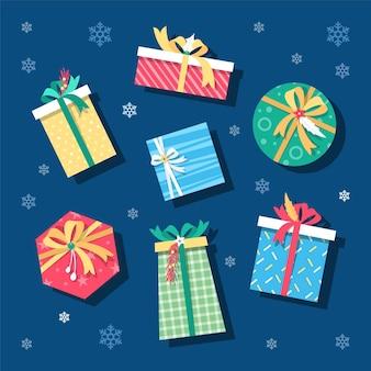 Coleção plana de presente de natal