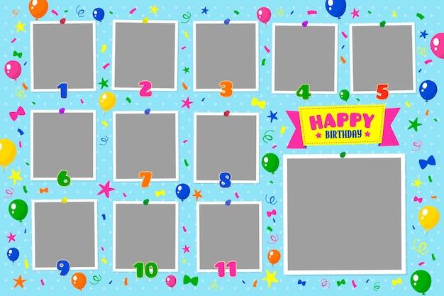 Coleção plana de quadros de colagem de aniversário