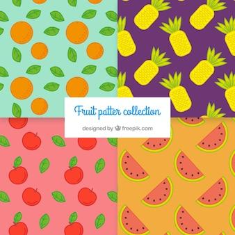 Coleção plana de quatro padrões de frutas