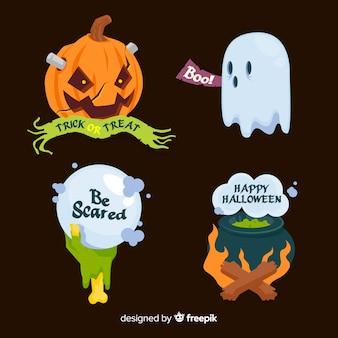 Coleção plana de rótulo e distintivo de halloween