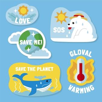 Coleção plana de rótulos de mudanças climáticas