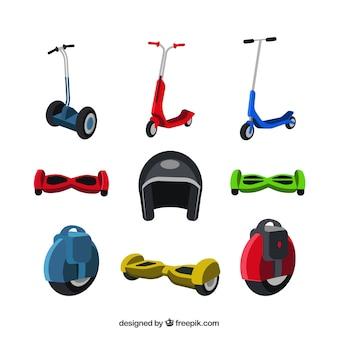 Coleção plana de scooters urbanos