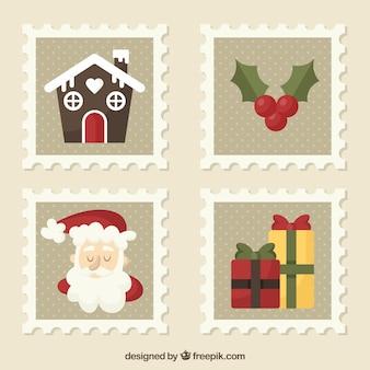 Coleção plana de selo de natal