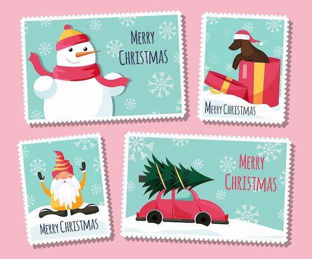 Coleção plana de selos de natal