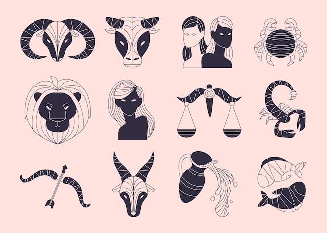 Coleção plana de signos do zodíaco