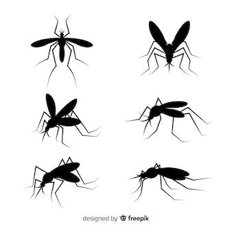 Coleção plana de silhuetas de mosquito