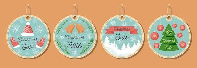 Coleção plana de venda de etiquetas de natal