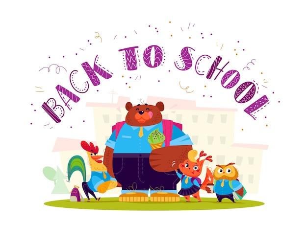 Coleção plana de vetor de estudante animal feliz em pé no prédio da escola. de volta à ilustração da escola isolada.